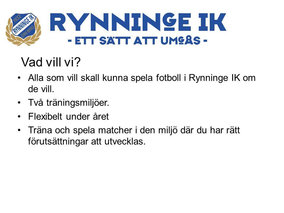 Vad vill vi. Alla som vill skall kunna spela fotboll i Rynninge IK om de vill.