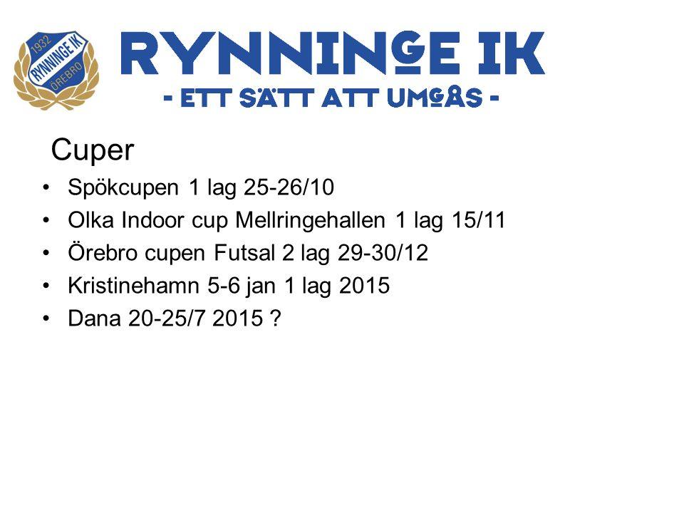 Cuper Spökcupen 1 lag 25-26/10 Olka Indoor cup Mellringehallen 1 lag 15/11 Örebro cupen Futsal 2 lag 29-30/12 Kristinehamn 5-6 jan 1 lag 2015 Dana 20-25/7 2015