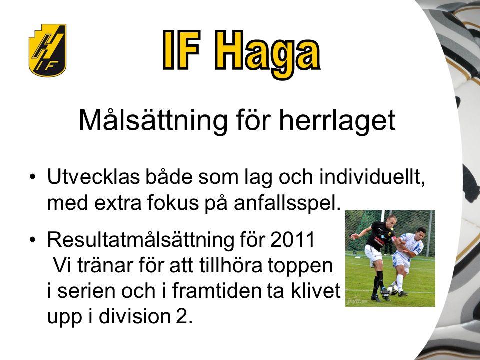 Målsättning för herrlaget Utvecklas både som lag och individuellt, med extra fokus på anfallsspel. Resultatmålsättning för 2011 Vi tränar för att till