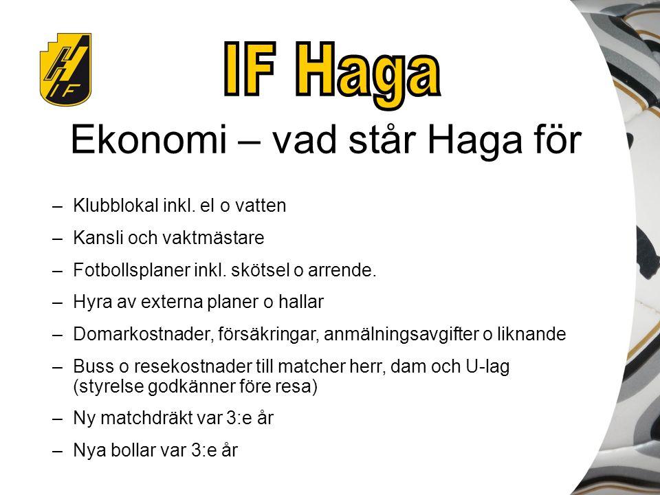 Ekonomi – vad står Haga för –Klubblokal inkl. el o vatten –Kansli och vaktmästare –Fotbollsplaner inkl. skötsel o arrende. –Hyra av externa planer o h