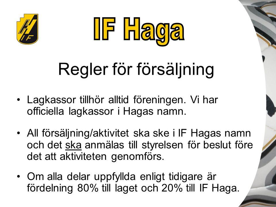 Regler för försäljning Lagkassor tillhör alltid föreningen. Vi har officiella lagkassor i Hagas namn. All försäljning/aktivitet ska ske i IF Hagas nam