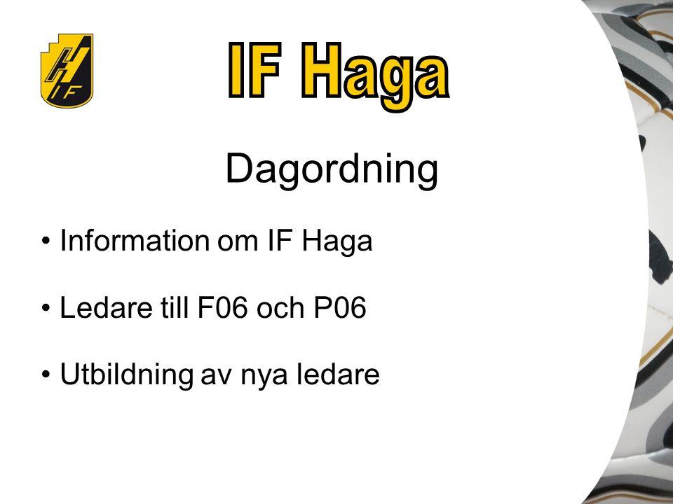Dagordning Information om IF Haga Ledare till F06 och P06 Utbildning av nya ledare