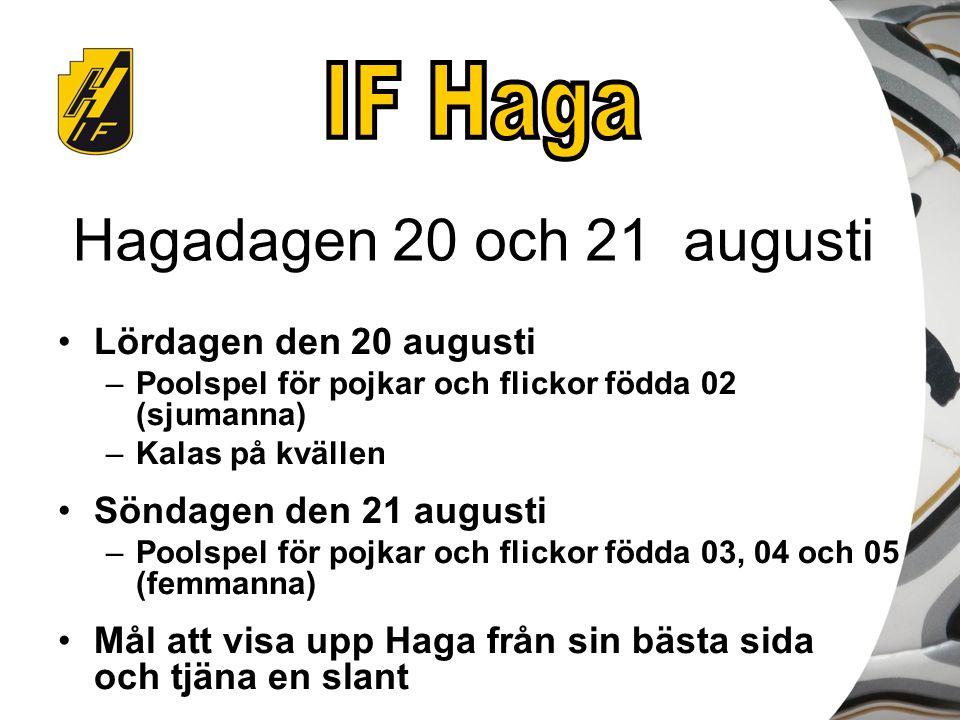 Hagadagen 20 och 21 augusti Lördagen den 20 augusti –Poolspel för pojkar och flickor födda 02 (sjumanna) –Kalas på kvällen Söndagen den 21 augusti –Po