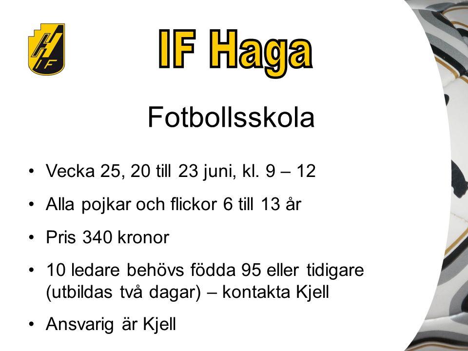 Fotbollsskola Vecka 25, 20 till 23 juni, kl. 9 – 12 Alla pojkar och flickor 6 till 13 år Pris 340 kronor 10 ledare behövs födda 95 eller tidigare (utb