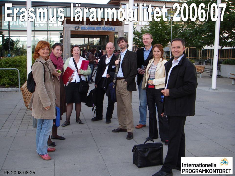 IPK 2008-08-25Erasmus lärarmobilitet 2006/2007 Antal utresande Erasmuslärare per ämnesområde 2006/07