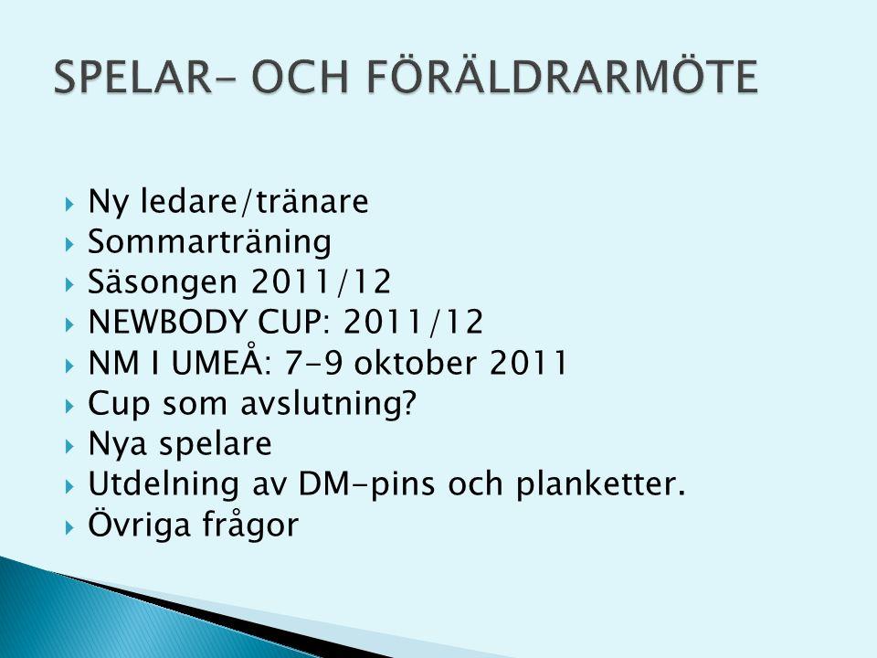  Ny ledare/tränare  Sommarträning  Säsongen 2011/12  NEWBODY CUP: 2011/12  NM I UMEÅ: 7-9 oktober 2011  Cup som avslutning.