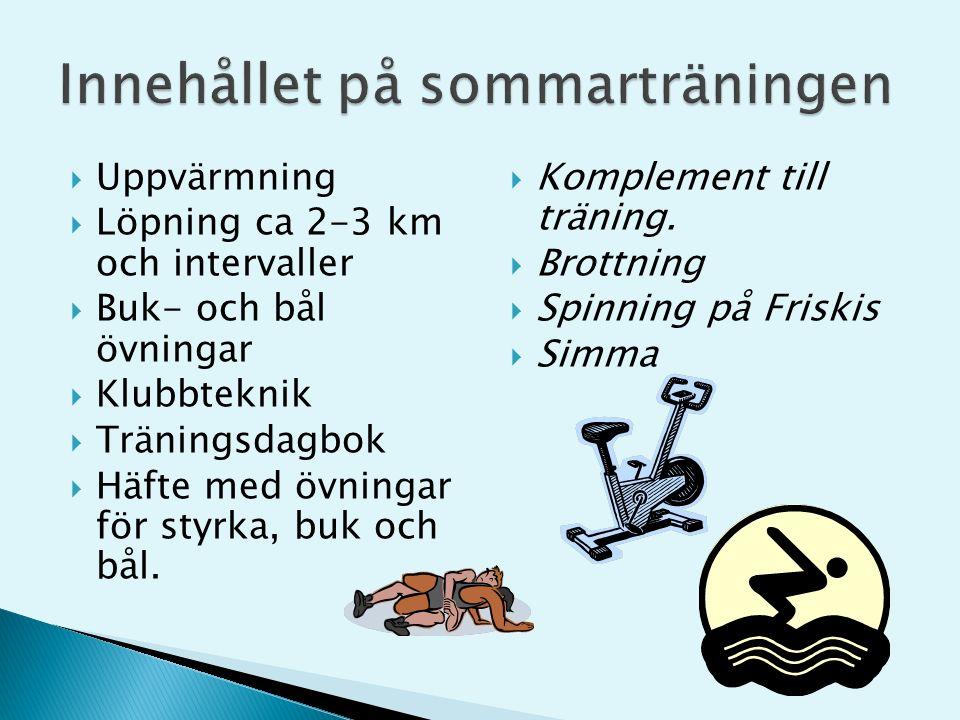  Uppvärmning  Löpning ca 2-3 km och intervaller  Buk- och bål övningar  Klubbteknik  Träningsdagbok  Häfte med övningar för styrka, buk och bål.