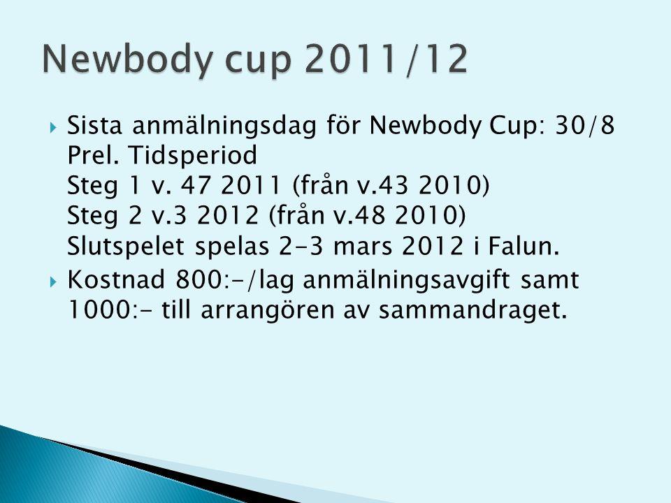  Sista anmälningsdag för Newbody Cup: 30/8 Prel. Tidsperiod Steg 1 v.