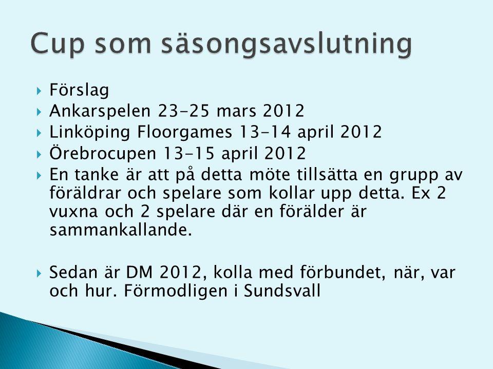  Förslag  Ankarspelen 23-25 mars 2012  Linköping Floorgames 13-14 april 2012  Örebrocupen 13-15 april 2012  En tanke är att på detta möte tillsätta en grupp av föräldrar och spelare som kollar upp detta.