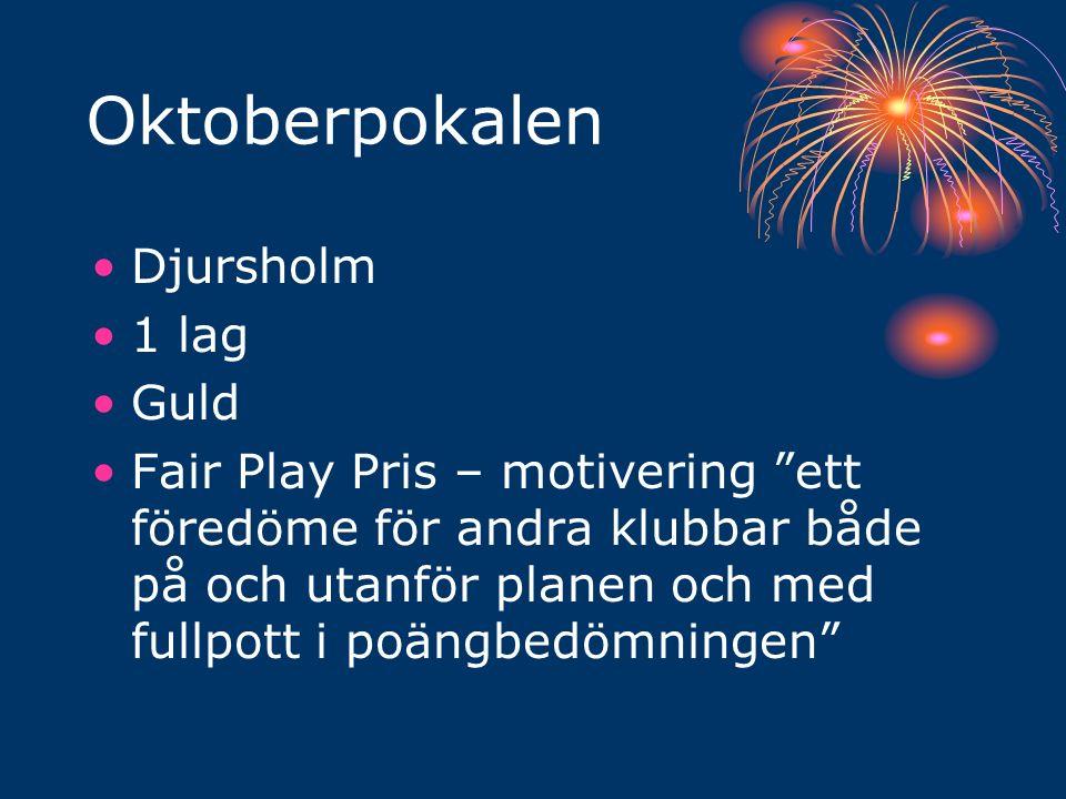 Oktoberpokalen Djursholm 1 lag Guld Fair Play Pris – motivering ett föredöme för andra klubbar både på och utanför planen och med fullpott i poängbedömningen
