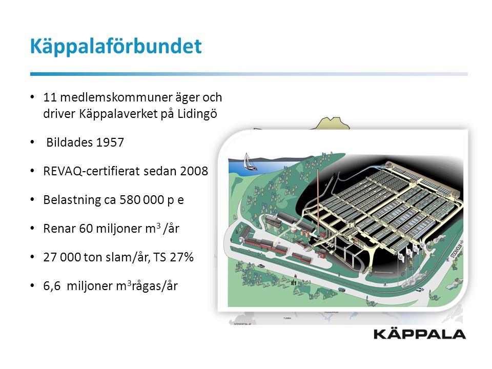 Käppalaförbundet 11 medlemskommuner äger och driver Käppalaverket på Lidingö Bildades 1957 REVAQ-certifierat sedan 2008 Belastning ca 580 000 p e Renar 60 miljoner m 3 /år 27 000 ton slam/år, TS 27% 6,6 miljoner m 3 rågas/år
