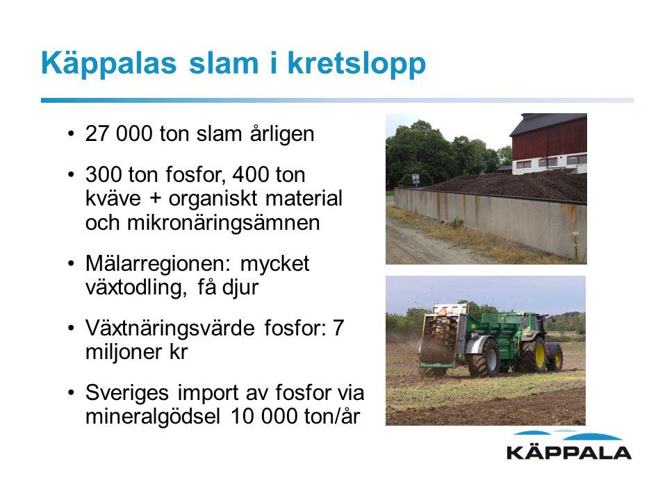 Käppalas slam i kretslopp 27 000 ton slam årligen 300 ton fosfor, 400 ton kväve + organiskt material och mikronäringsämnen Mälarregionen: mycket växtodling, få djur Växtnäringsvärde fosfor: 7 miljoner kr Sveriges import av fosfor via mineralgödsel 10 000 ton/år