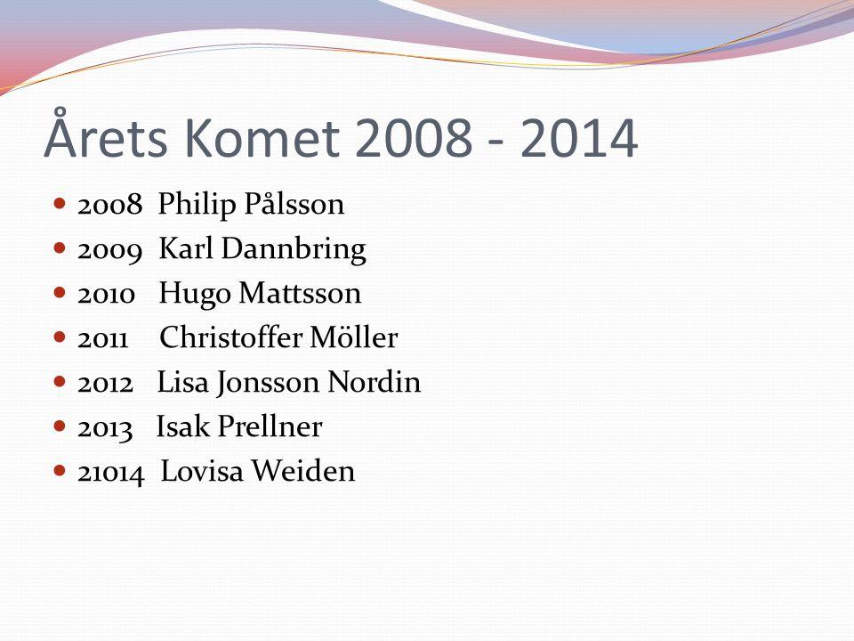 Årets Komet 2008 - 2014 2008 Philip Pålsson 2009 Karl Dannbring 2010 Hugo Mattsson 2011 Christoffer Möller 2012 Lisa Jonsson Nordin 2013 Isak Prellner 21014 Lovisa Weiden