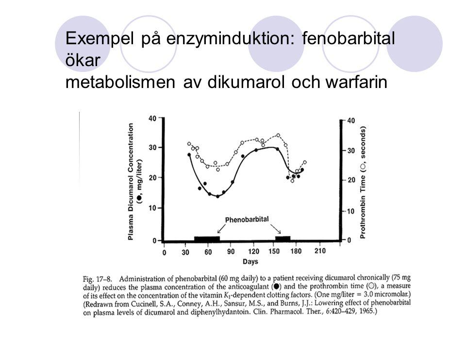 Exempel på enzyminduktion: fenobarbital ökar metabolismen av dikumarol och warfarin