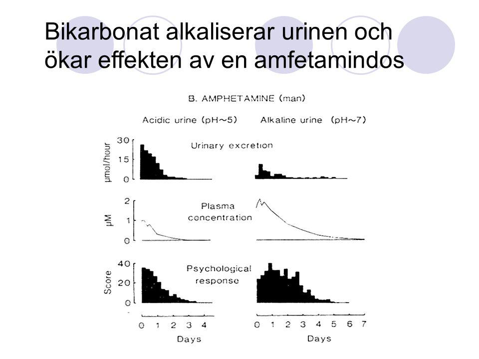 Bikarbonat alkaliserar urinen och ökar effekten av en amfetamindos