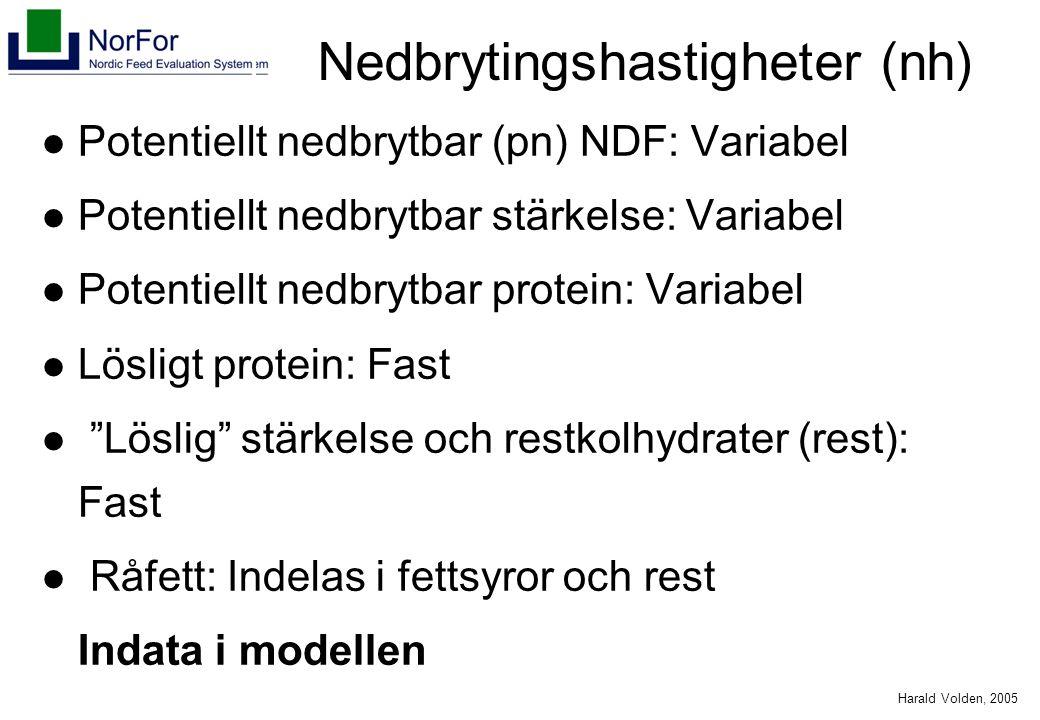 Harald Volden, 2005 Nedbrytingshastigheter (nh) Potentiellt nedbrytbar (pn) NDF: Variabel Potentiellt nedbrytbar stärkelse: Variabel Potentiellt nedbrytbar protein: Variabel Lösligt protein: Fast Löslig stärkelse och restkolhydrater (rest): Fast Råfett: Indelas i fettsyror och rest Indata i modellen