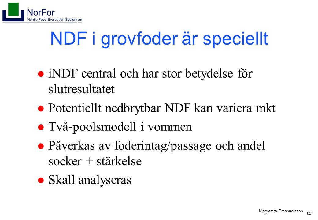 Harald Volden, 2005 NDF i grovfoder är speciellt iNDF central och har stor betydelse för slutresultatet Potentiellt nedbrytbar NDF kan variera mkt Två-poolsmodell i vommen Påverkas av foderintag/passage och andel socker + stärkelse Skall analyseras Margareta Emanuelsson