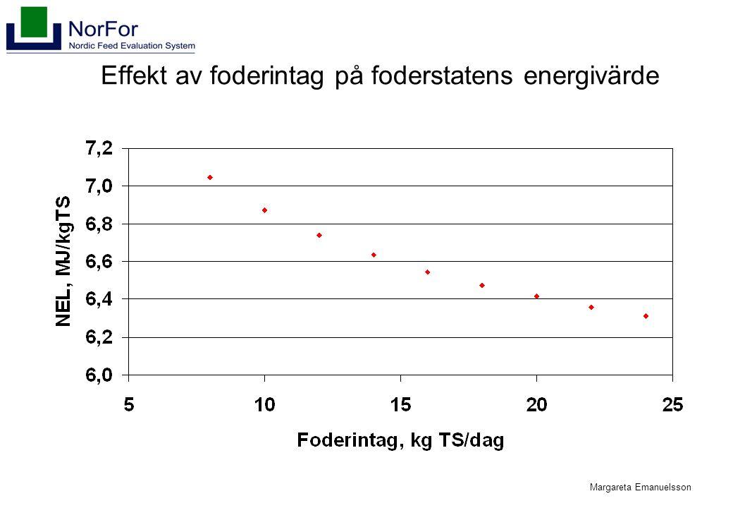 Margareta Emanuelsson Effekt av foderintag på foderstatens energivärde