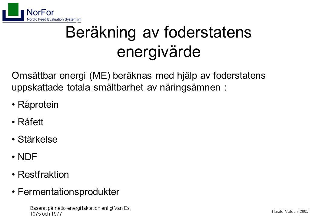 Harald Volden, 2005 Beräkning av foderstatens energivärde Omsättbar energi (ME) beräknas med hjälp av foderstatens uppskattade totala smältbarhet av näringsämnen : Råprotein Råfett Stärkelse NDF Restfraktion Fermentationsprodukter Baserat på netto-energi laktation enligt Van Es, 1975 och 1977