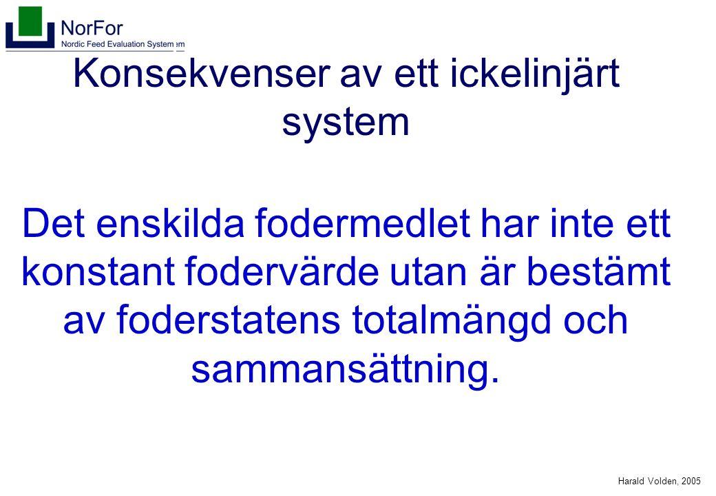 Harald Volden, 2005 Konsekvenser av ett ickelinjärt system Det enskilda fodermedlet har inte ett konstant fodervärde utan är bestämt av foderstatens t