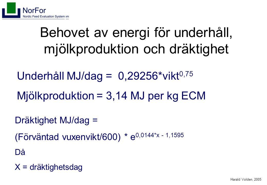 Harald Volden, 2005 Behovet av energi för underhåll, mjölkproduktion och dräktighet Underhåll MJ/dag = 0,29256*vikt 0,75 Mjölkproduktion = 3,14 MJ per kg ECM Dräktighet MJ/dag = (Förväntad vuxenvikt/600) * e 0,0144*x - 1,1595 Då X = dräktighetsdag