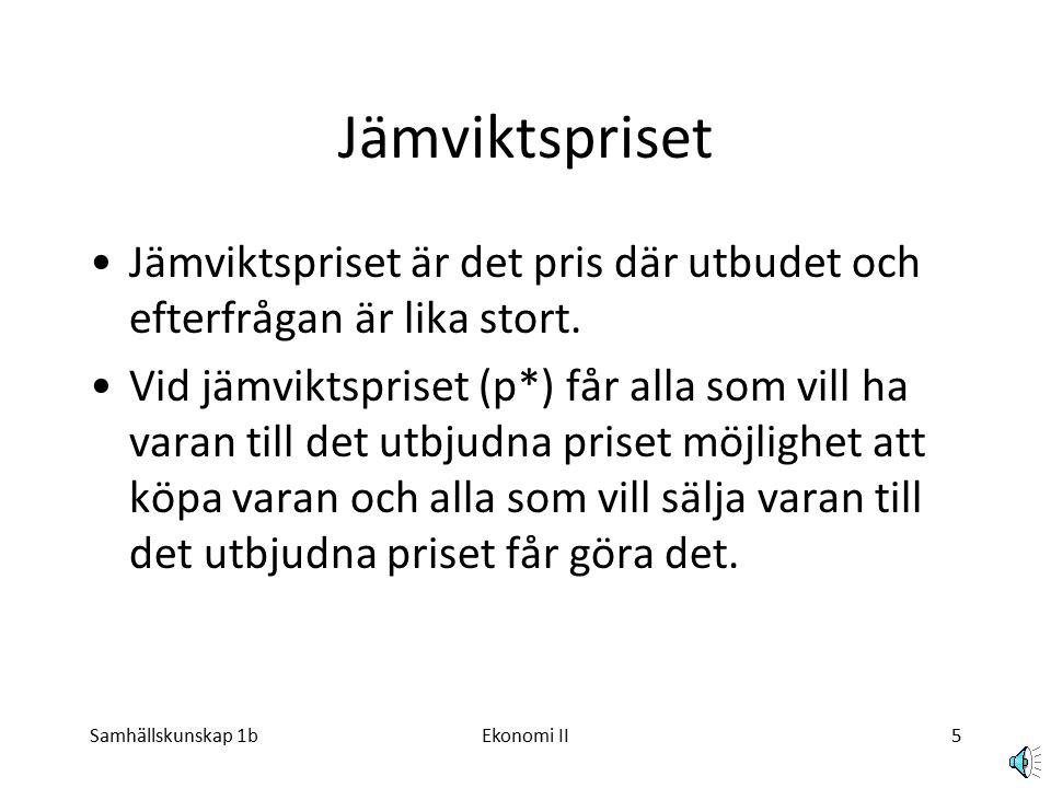 Samhällskunskap 1bEkonomi II5 Jämviktspriset Jämviktspriset är det pris där utbudet och efterfrågan är lika stort.