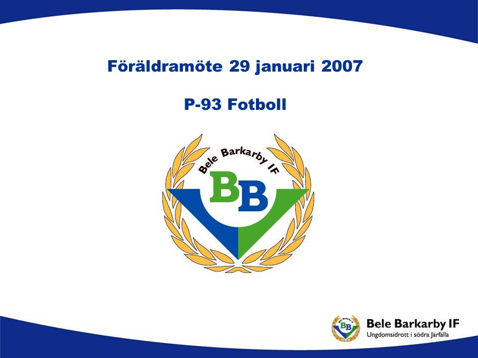 Agenda Organisation Träningsupplägg Material Träningsläger Seriespel Cuper Kommunikation Ekonomi Stab 2007 - BBIF P-93 fotboll Övriga frågor
