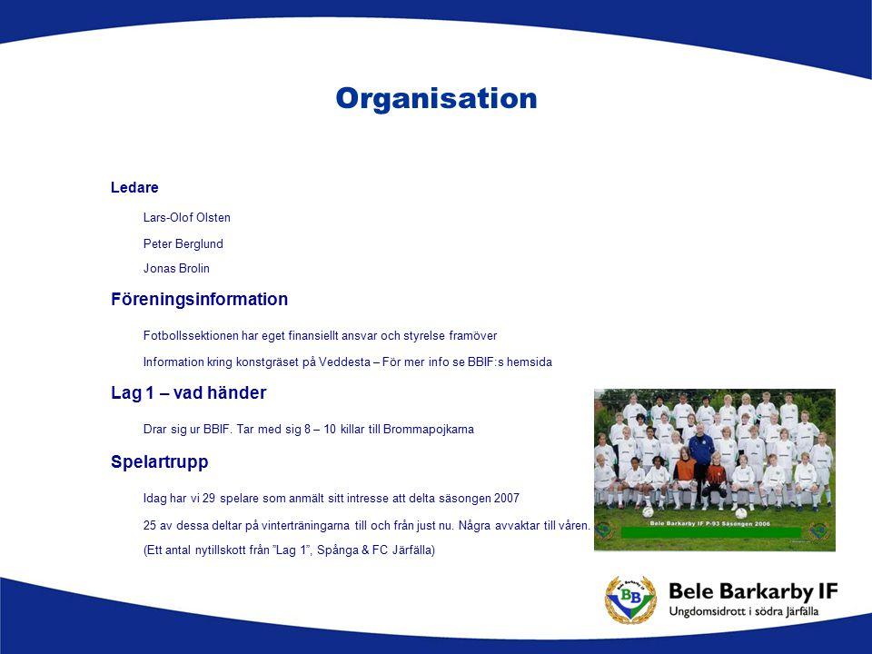 Organisation Ledare Lars-Olof Olsten Peter Berglund Jonas Brolin Föreningsinformation Fotbollssektionen har eget finansiellt ansvar och styrelse framö