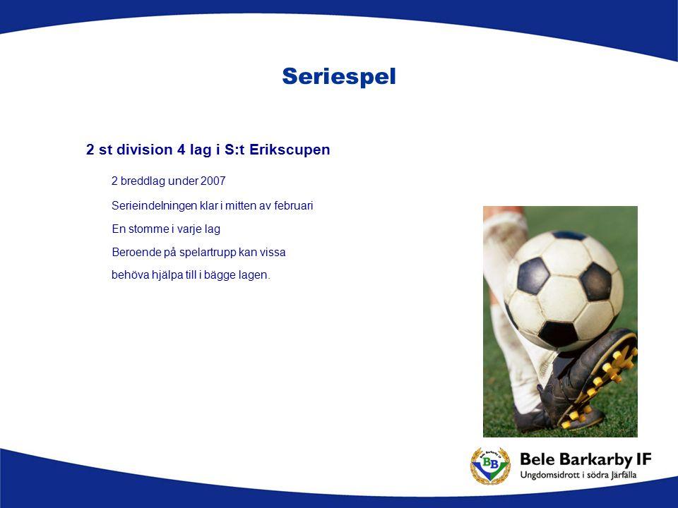 Seriespel 2 st division 4 lag i S:t Erikscupen 2 breddlag under 2007 Serieindelningen klar i mitten av februari En stomme i varje lag Beroende på spelartrupp kan vissa behöva hjälpa till i bägge lagen.