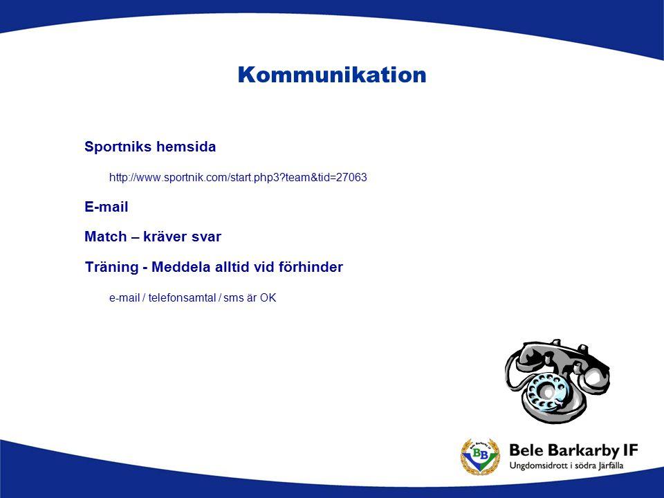 Kommunikation Sportniks hemsida http://www.sportnik.com/start.php3?team&tid=27063 E-mail Match – kräver svar Träning - Meddela alltid vid förhinder e-