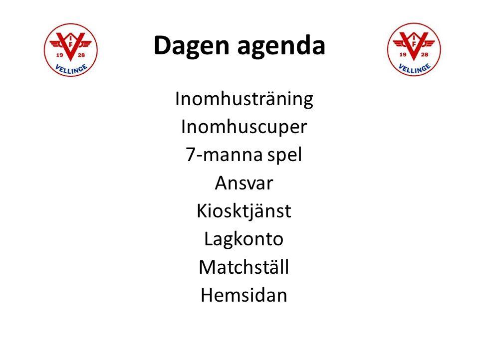 Dagen agenda Inomhusträning Inomhuscuper 7-manna spel Ansvar Kiosktjänst Lagkonto Matchställ Hemsidan