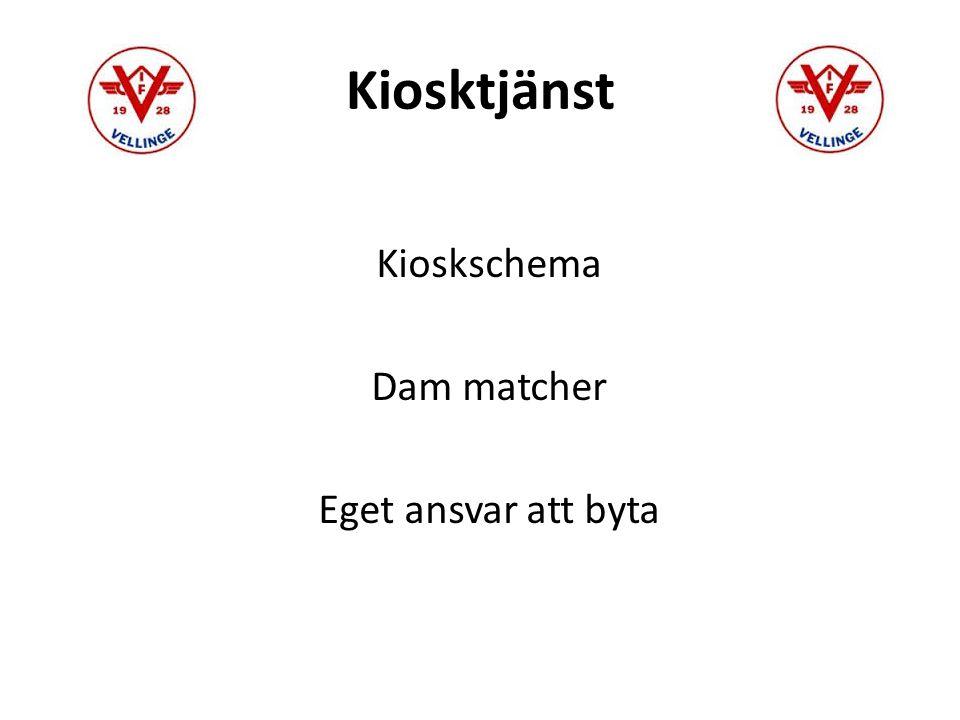 Kiosktjänst Kioskschema Dam matcher Eget ansvar att byta