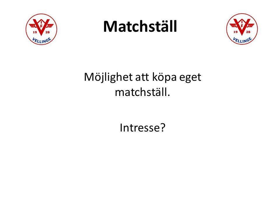 Matchställ Möjlighet att köpa eget matchställ. Intresse