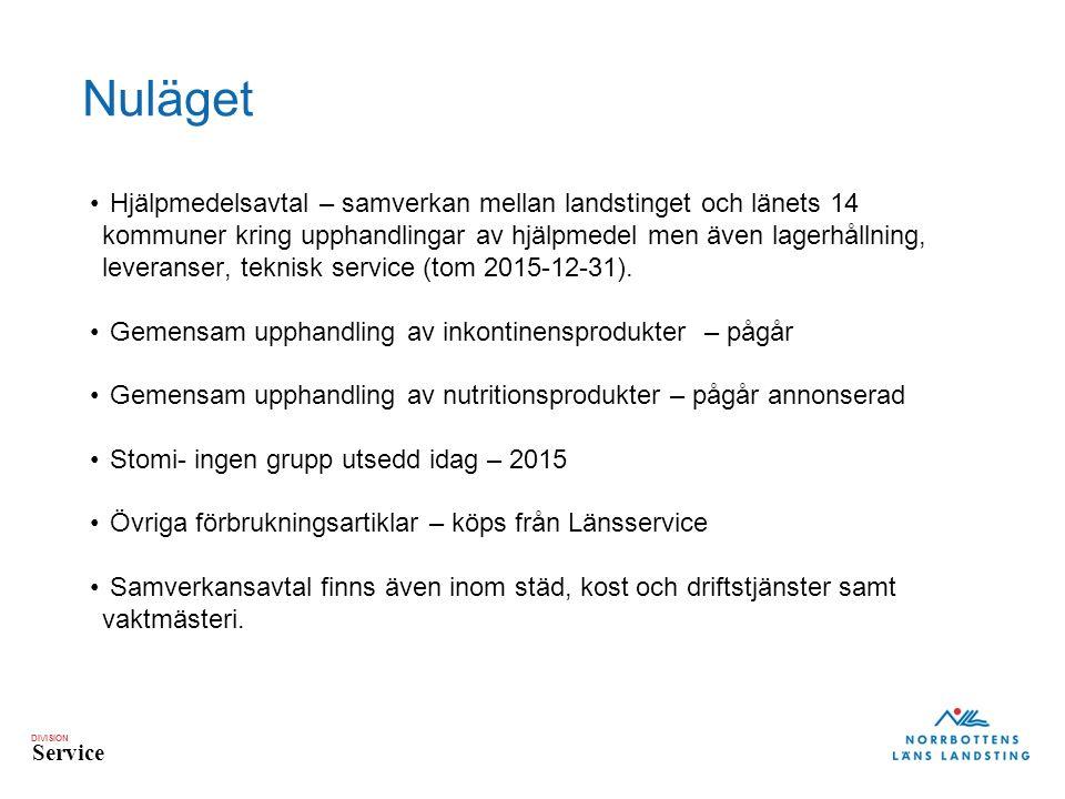 DIVISION Service Nuläget Hjälpmedelsavtal – samverkan mellan landstinget och länets 14 kommuner kring upphandlingar av hjälpmedel men även lagerhållning, leveranser, teknisk service (tom 2015-12-31).
