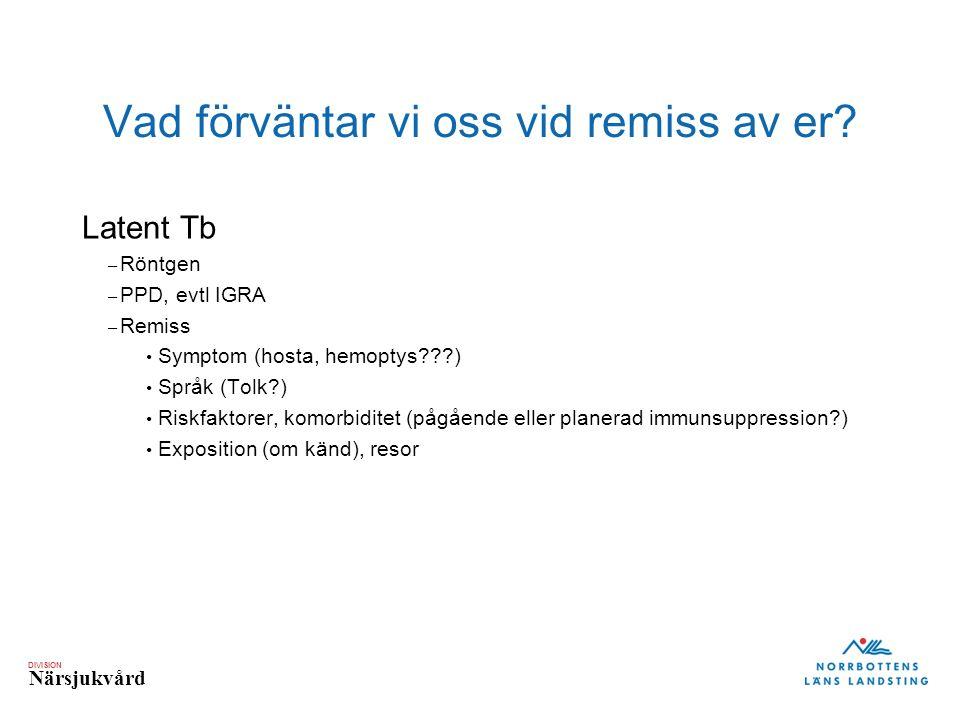 DIVISION Närsjukvård Latent Tb – Röntgen – PPD, evtl IGRA – Remiss Symptom (hosta, hemoptys???) Språk (Tolk?) Riskfaktorer, komorbiditet (pågående ell