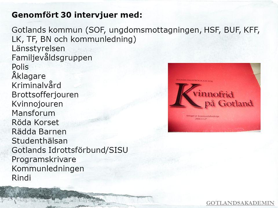 GOTLANDSAKADEMIN Genomfört 30 intervjuer med: Gotlands kommun (SOF, ungdomsmottagningen, HSF, BUF, KFF, LK, TF, BN och kommunledning) Länsstyrelsen Fa
