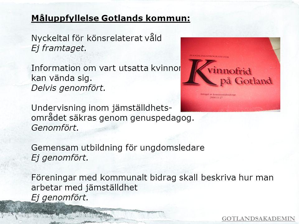 GOTLANDSAKADEMIN Måluppfyllelse Gotlands kommun: Nyckeltal för könsrelaterat våld Ej framtaget. Information om vart utsatta kvinnor kan vända sig. Del