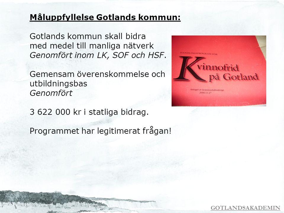 GOTLANDSAKADEMIN Måluppfyllelse Gotlands kommun: Gotlands kommun skall bidra med medel till manliga nätverk Genomfört inom LK, SOF och HSF. Gemensam ö
