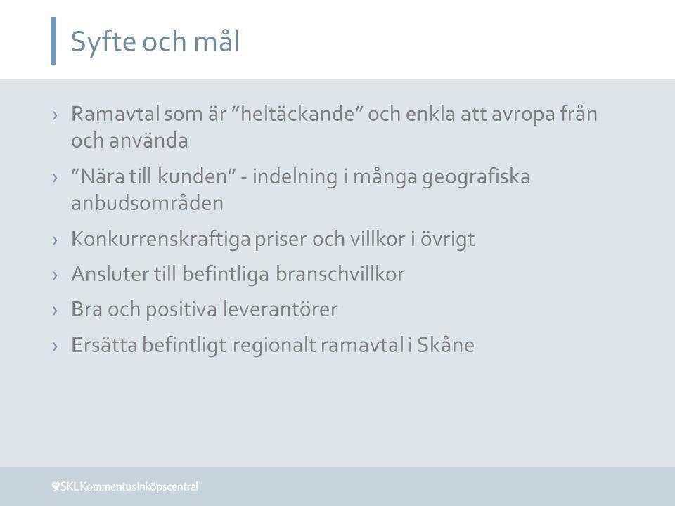 Syfte och mål ›Ramavtal som är heltäckande och enkla att avropa från och använda › Nära till kunden - indelning i många geografiska anbudsområden ›Konkurrenskraftiga priser och villkor i övrigt ›Ansluter till befintliga branschvillkor ›Bra och positiva leverantörer ›Ersätta befintligt regionalt ramavtal i Skåne