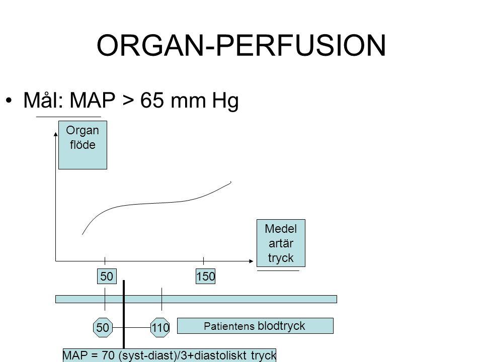 ORGAN-PERFUSION Mål: MAP > 65 mm Hg Medel artär tryck Organ flöde 50150 11050 Patientens blodtryck MAP = 70 (syst-diast)/3+diastoliskt tryck