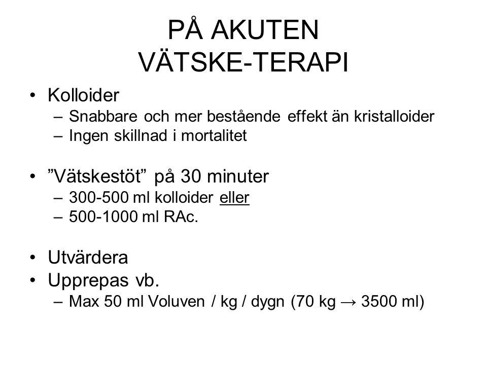 SEPTISK CHOCK Sepsis + vätske-resistent hypotension (MAP < 65) → IVA Kortison 200-300 mg / dag (50 mg x 4) (100 mg x 3) Lägre dosen bättre.