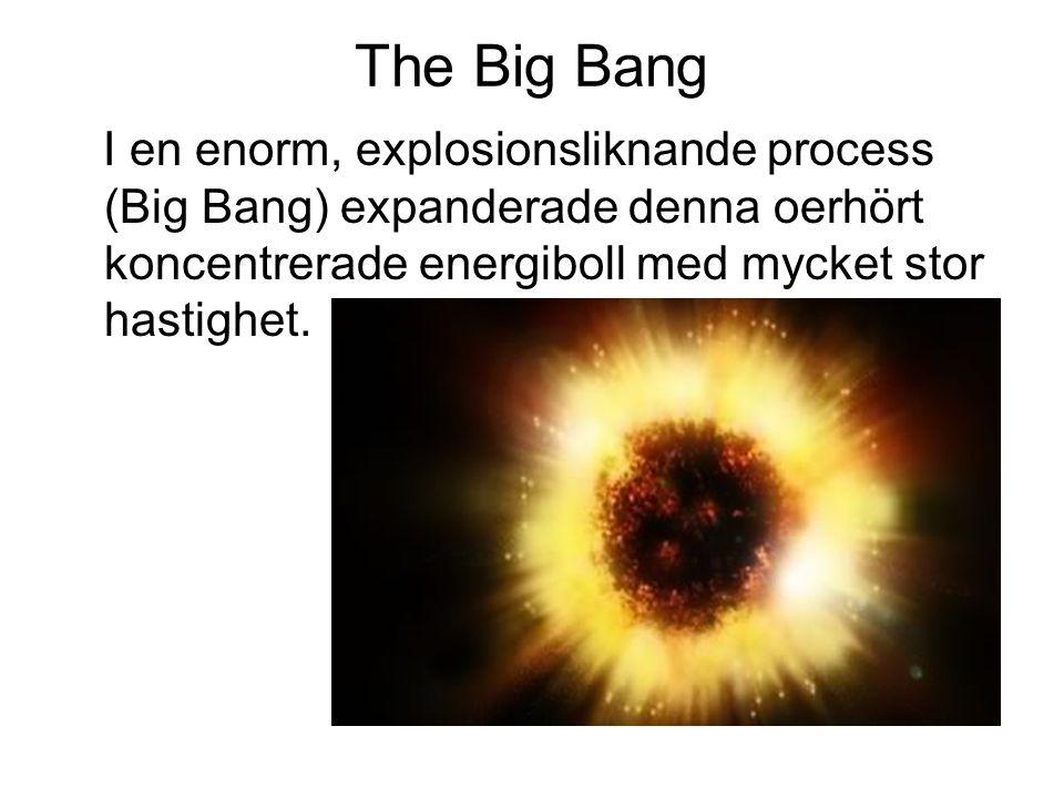 The Big Bang I en enorm, explosionsliknande process (Big Bang) expanderade denna oerhört koncentrerade energiboll med mycket stor hastighet.