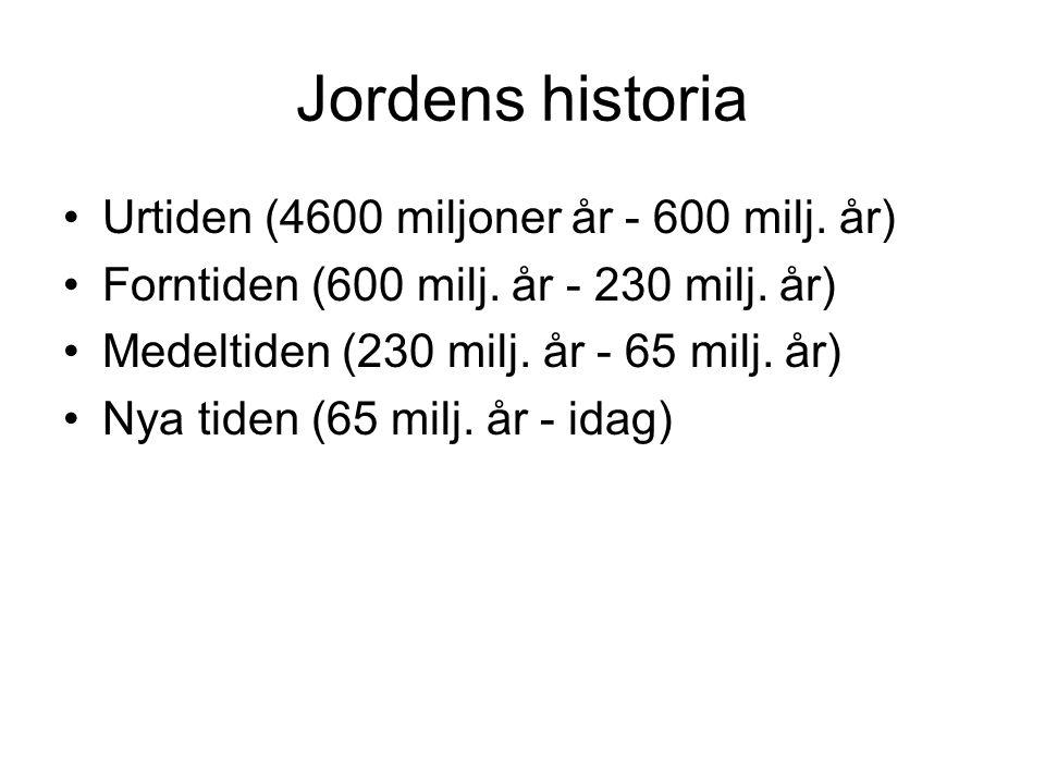Jordens historia Urtiden (4600 miljoner år - 600 milj. år) Forntiden (600 milj. år - 230 milj. år) Medeltiden (230 milj. år - 65 milj. år) Nya tiden (