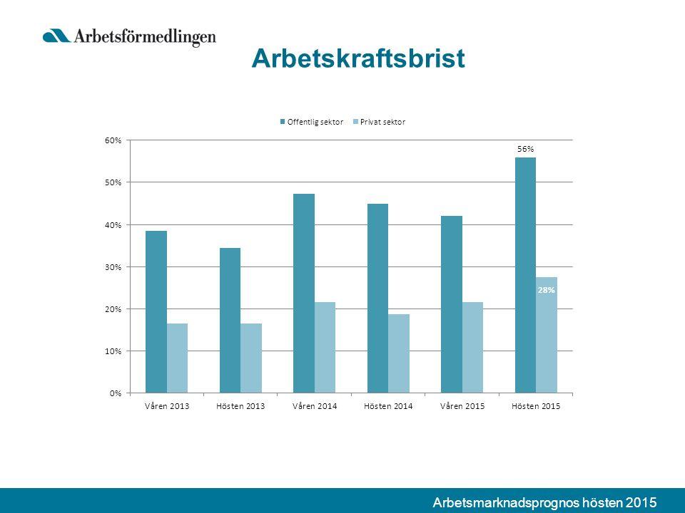 Arbetsmarknadsprognos hösten 2015 Arbetskraftsbrist