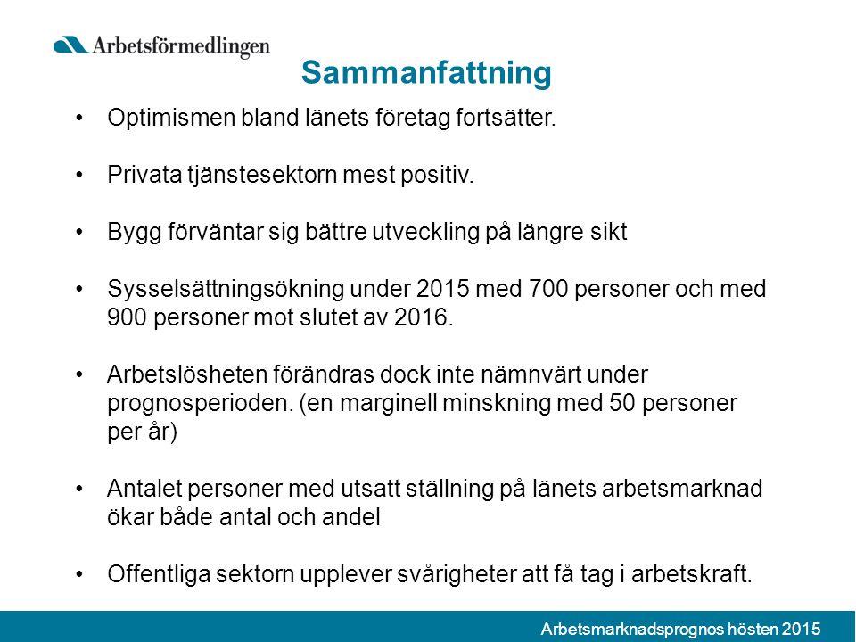 Arbetsmarknadsprognos hösten 2015 Sammanfattning Optimismen bland länets företag fortsätter.