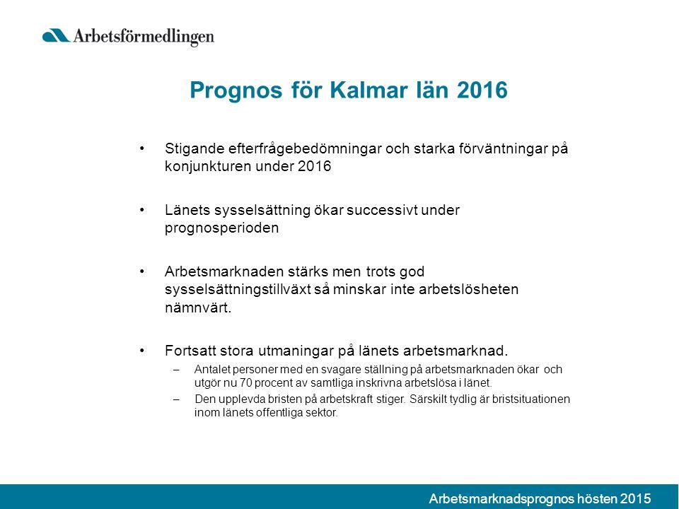 Prognos för Kalmar län 2016 Stigande efterfrågebedömningar och starka förväntningar på konjunkturen under 2016 Länets sysselsättning ökar successivt under prognosperioden Arbetsmarknaden stärks men trots god sysselsättningstillväxt så minskar inte arbetslösheten nämnvärt.
