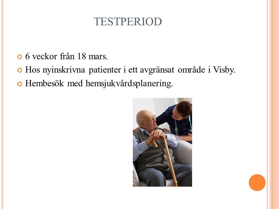 TESTPERIOD 6 veckor från 18 mars. Hos nyinskrivna patienter i ett avgränsat område i Visby.