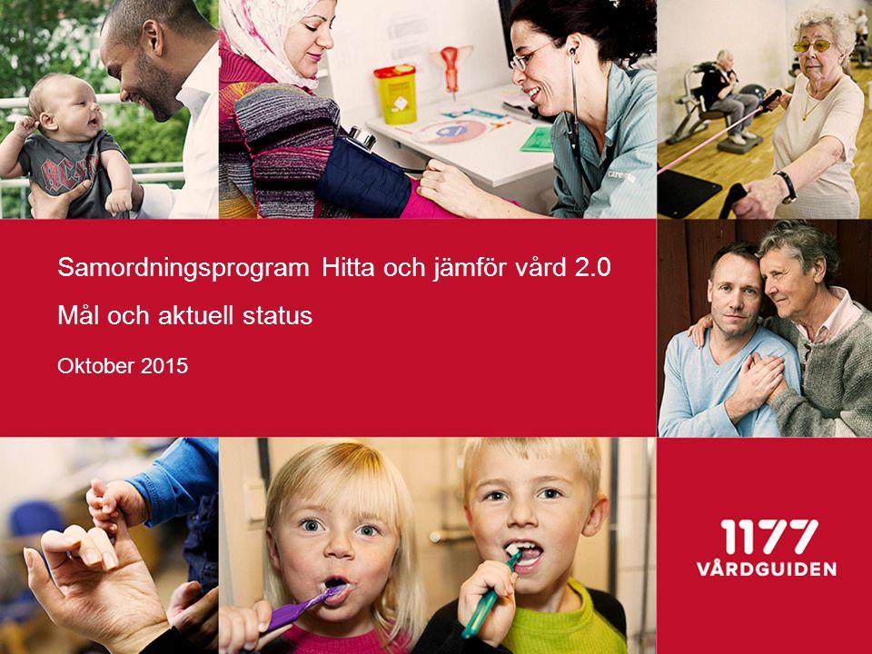 Samordningsprogram Hitta och jämför vård 2.0 Mål och aktuell status Oktober 2015