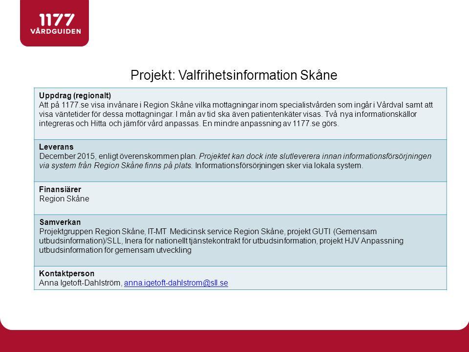 Projekt: Valfrihetsinformation Skåne Uppdrag (regionalt) Att på 1177.se visa invånare i Region Skåne vilka mottagningar inom specialistvården som ingår i Vårdval samt att visa väntetider för dessa mottagningar.
