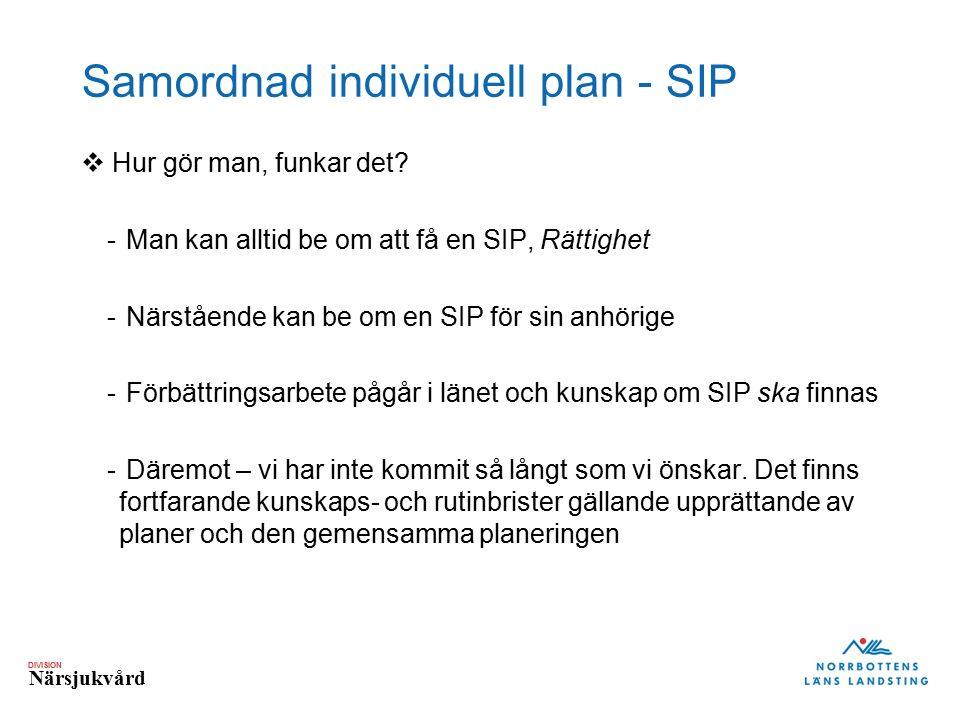 DIVISION Närsjukvård Samordnad individuell plan - SIP  Hur gör man, funkar det? - Man kan alltid be om att få en SIP, Rättighet - Närstående kan be o